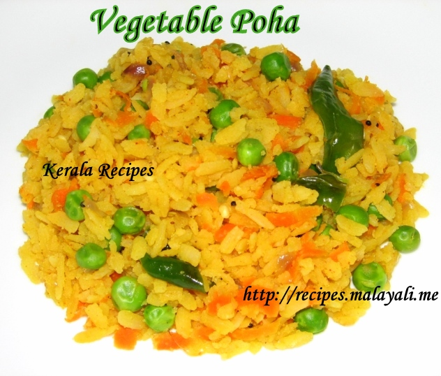 Vegetable Poha (Beaten Rice with Vegetables)