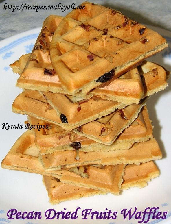 Pecan & Dried Fruits Waffle « Kerala Recipes