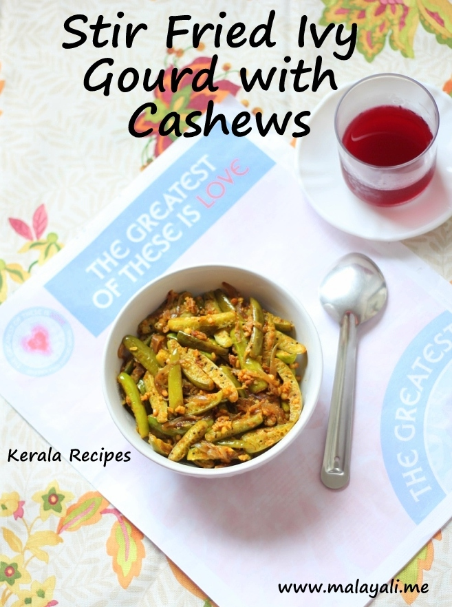 Stir Fried Ivy Gourd with Cashews « Kerala Recipes